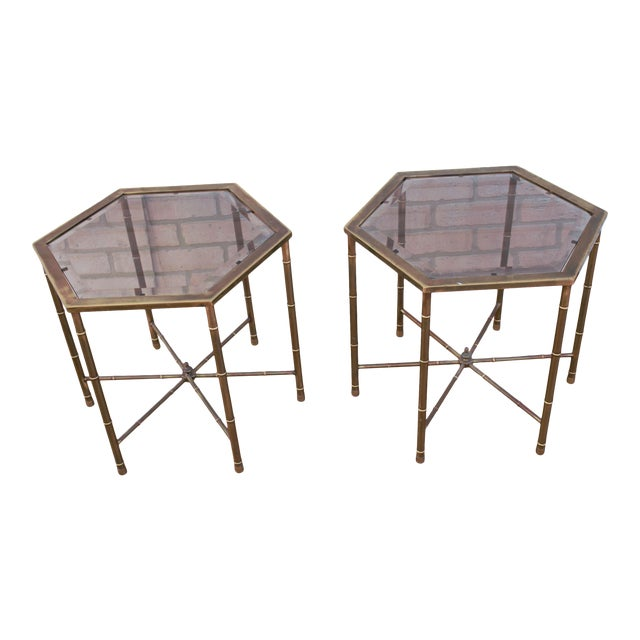 1970s Mid Century Modern Mastercraft Faux Bamboo Side Tables - A Pair For Sale
