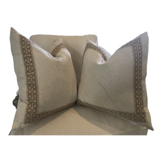 Lacefield Designs Beige Neutral Accent Pillows - A Pair For Sale