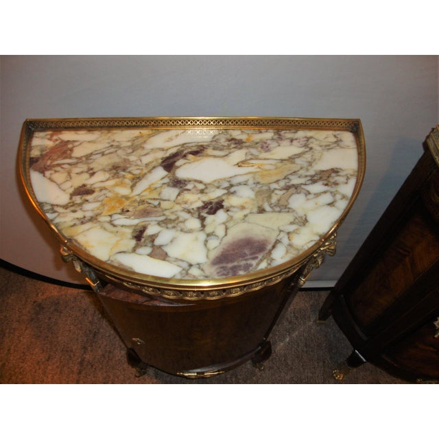 French Louis XV Style Inlaid Pedestal End Table Night Stand Gallery Marble Top - Image 6 of 7