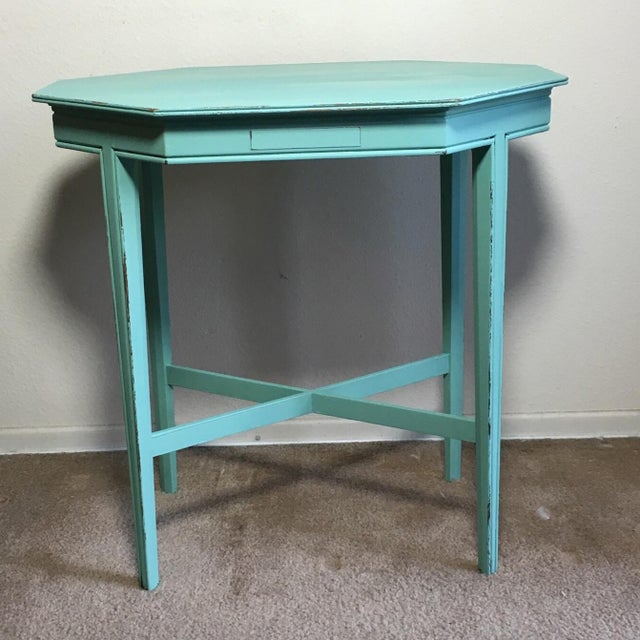 Cottage Shabby Chic Turquoise Side Table For Sale - Image 3 of 4