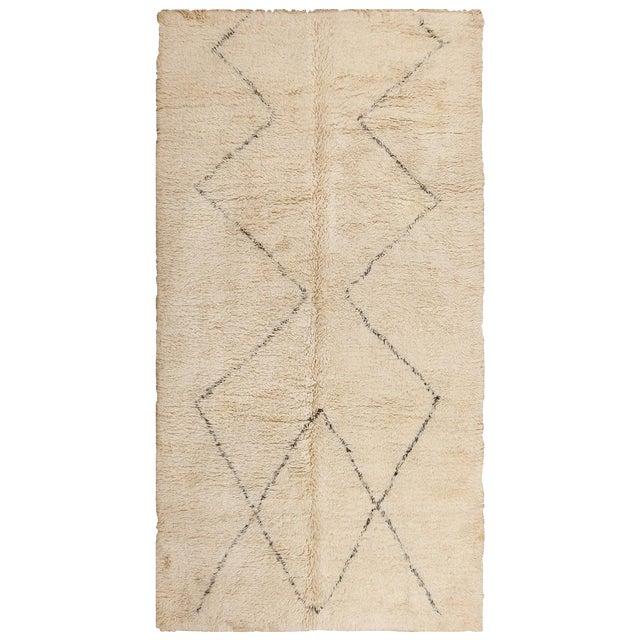 Vintage Room Size Moroccan Ivory Rug - 6′10″ × 13′ For Sale