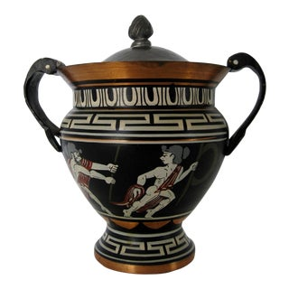 Greecian Hand Painted Metal Urn For Sale