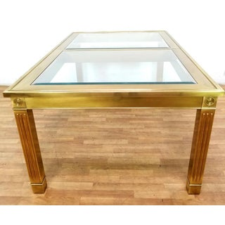 Mid-Century Modern Mastercraft Brass and Beveled Glass Extension Table With Columnar Legs Preview