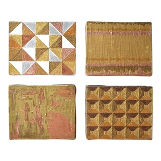 Contemporary Abstract Gilt Paintings - Set of 4 For Sale