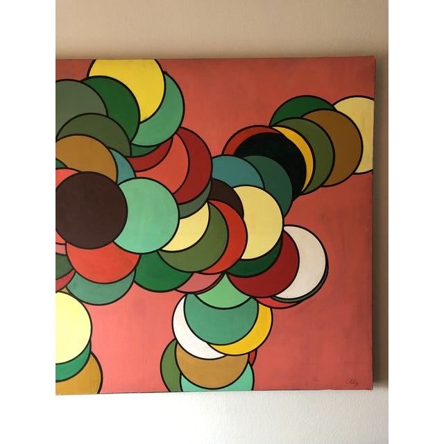 1970s Mid Century Oversized Op Art Painting For Sale - Image 5 of 8