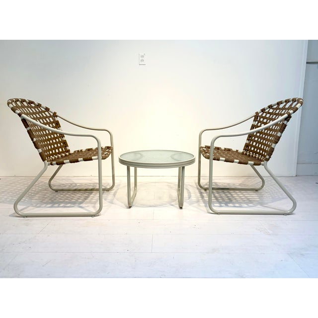 Mid Century Modern Brown Jordan Off White and Brown Patio Furniture-Set of 3 For Sale - Image 10 of 10