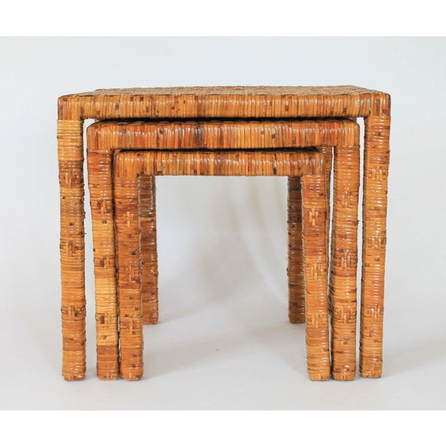 Boho Rattan Wrapped Nesting Tables S/3 For Sale - Image 4 of 10
