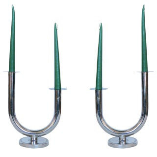 "Chrome ""Taurex"" Candleholders by Walter Von Nessen for Chase"