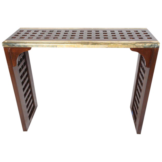 Ship's Nautical Teak Decking Converted to Console Table With Brass Border For Sale