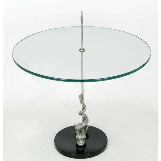 Contemporary Nickel Dolphin & Trident Gueridon with Black Marble Base For Sale - Image 3 of 7