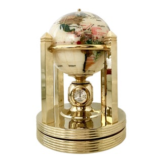 21st Century Mother-Of-Pearl and Semi Precious Gold Plate Rotating Globe