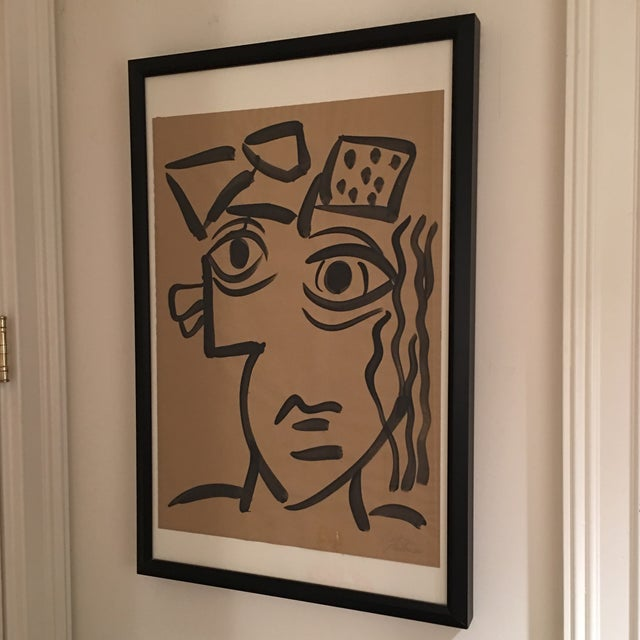 Black 1964 Cubist Abstract Face Painting by Peter Keil For Sale - Image 8 of 8