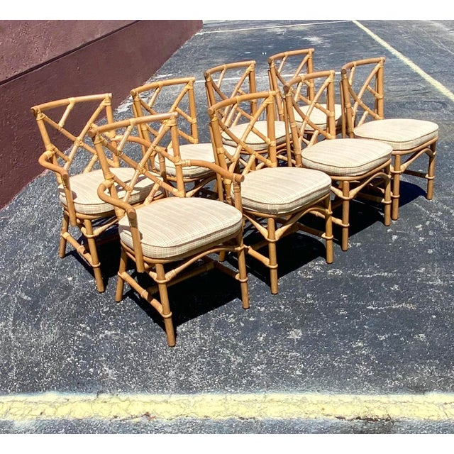 Wood Vintage Coastal Ficks Reed Chinese Chippendale Bamboo Dining Chairs - Set of 8 For Sale - Image 7 of 13