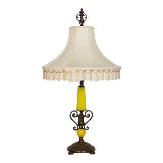 Restored Art Deco Yellow Glass Lamp For Sale