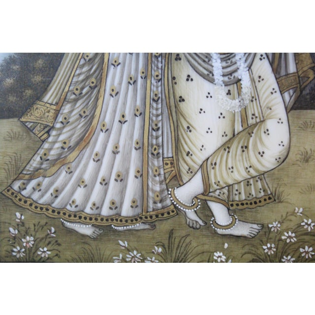 Persian Man and Woman Porcelain Panel Painting For Sale - Image 4 of 7