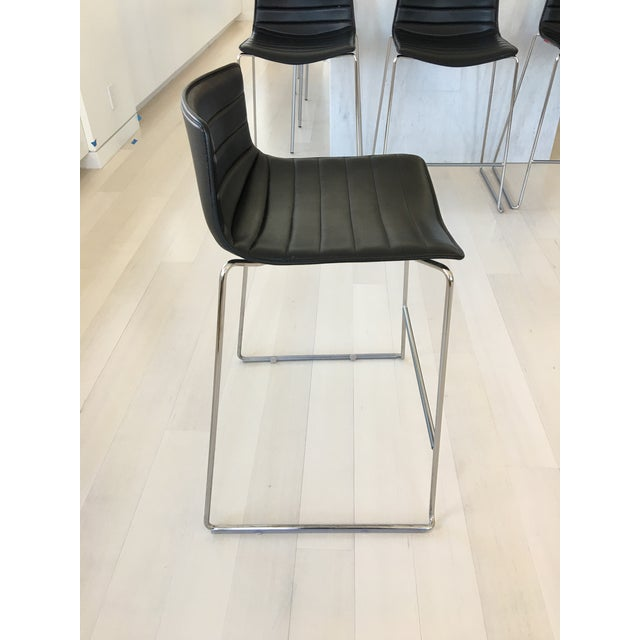 Black Leather Counter Stools by Arper - Set of 4 - Image 6 of 7