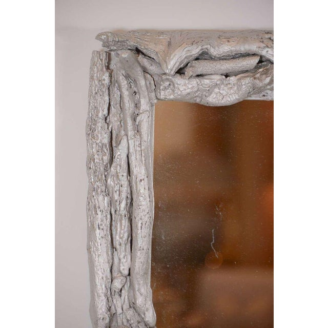 Vintage Silver Leafed Driftwood Frame Mirror For Sale In Houston - Image 6 of 7