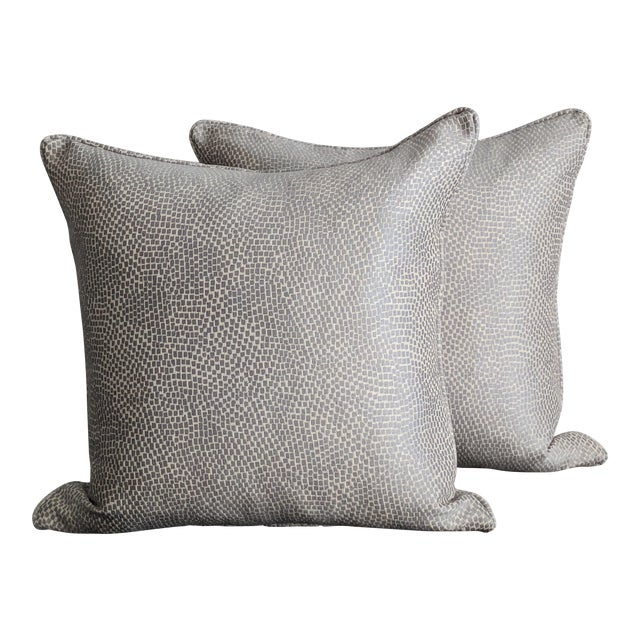 Silver & White Kravet Fabric Pillows – a Pair For Sale