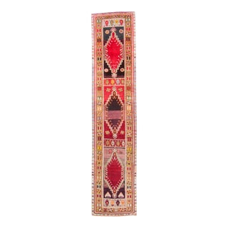 1940s Vintage Oushak Sivas Floral and Geometric Red Yellow Hand-Knotted Runner For Sale