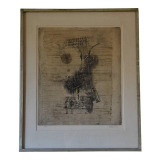 1960s Large Framed Lithograph by Frederick Weinberg For Sale