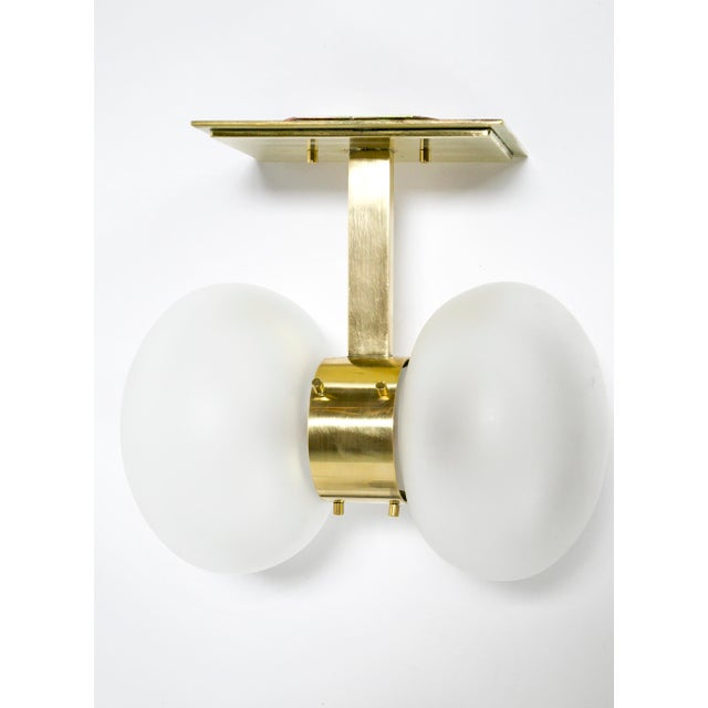 Brass Dogfork Banded Globe Sconces in Various Finishes For Sale - Image 8 of 11