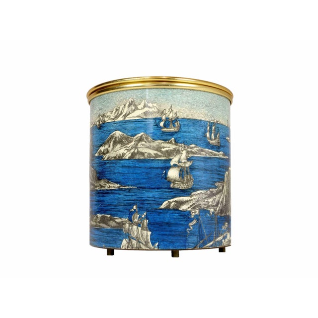 "Piero Fornasetti (Italy, 1913 - 1988) Ice bucket ""boats and icebergs"" Printed metal and aluminium Signed ""Fornasetti..."