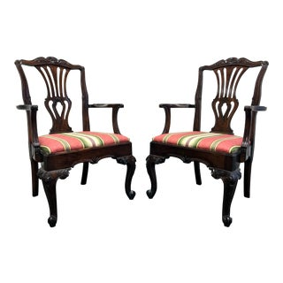 Hekman Marsala Oak Dining Captain's Arm Chairs - A Pair