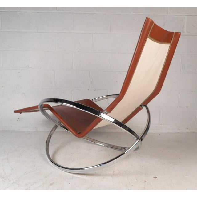 Midcentury Italian Folding Chaise Lounge Rocker For Sale - Image 4 of 10