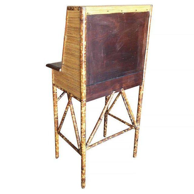 Tiger Bamboo Secretary Desk with Ricemat Covering - Image 6 of 9