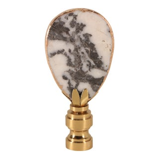 Gilded Panda Marble Lamp Finial For Sale
