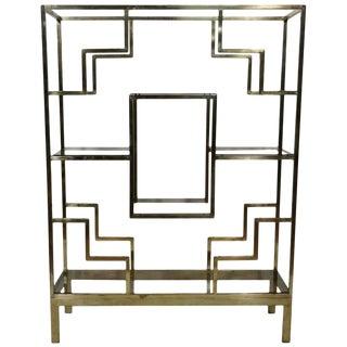 1970s Hollywood Regency Geometric Brass Étagère For Sale