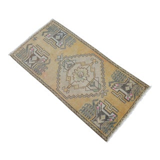 Distressed Low Pile Turkish Yastik - Small Rug Hand Knotted Faded Mat - 19'' X 38'' For Sale