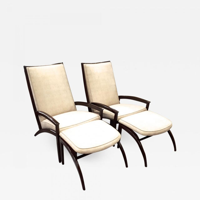 Adrian Pearsall Adrian Pearsall Pair of Lounge Chairs and Ottoman Restored in Neutral Cloth For Sale - Image 4 of 5