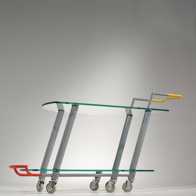 Glass Hilton Trolly Bar Cart by Javier Mariscal for Memphis, 1981 For Sale - Image 7 of 13