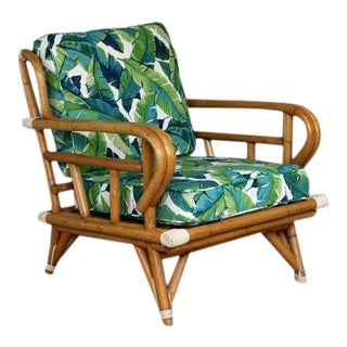 1970s Mid-Century Modern Retro Rattan Banana Leaf Printed Arm Chair For Sale