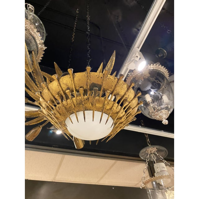 Gold 1920's Gilt Metal Light Fixture For Sale - Image 8 of 9