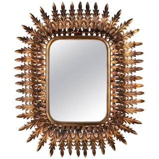 Vintage French Gilded Hand-Hammered Tole Mirror