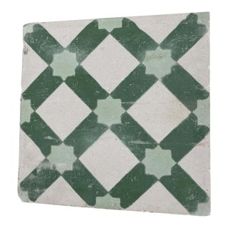 Moroccan Encaustic Cement Tile Sample with Moorish Design For Sale