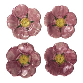 1940s Mid-Century Modern Franciscan Desert Rose Butter Pads - Set of 4 For Sale