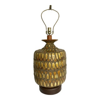 1950s Mid-Century Modern Glazed Volcano Pottery Lamp For Sale