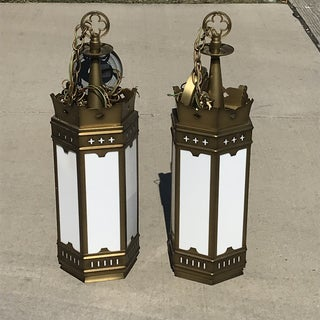 1960s Large Gold and Milk Glass Cathedral Gothic Revival Lanterns - a Pair Preview