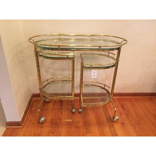 Mid-Century Brass & Glass Bar Cart - Image 2 of 11