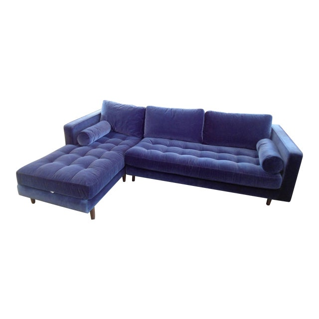 Navy Blue Velvet Sectional W/ Tufted Seat, Left Chaise For Sale