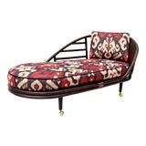Image of Chinoiserie Rattan Grass Cloth Chaise Lounge in Ikat Silk For Sale