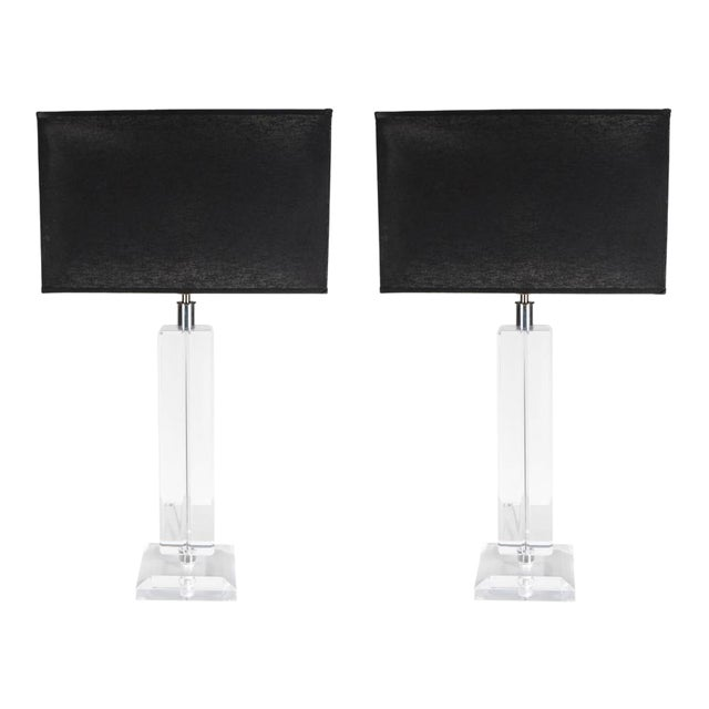 Ultra-Chic Pair of Lucite and Chrome Lamps For Sale