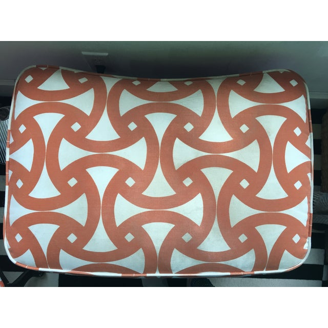 French Style Orange Bergere Chairs & Ottoman - S/3 - Image 6 of 6