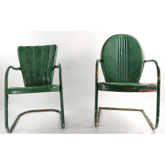 1950s Metal Garden Patio Lawn Chairs - a Pair For Sale - Image 5 of 10
