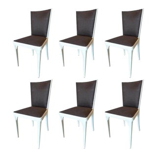 1940s French Painted Pine Re-Upholstered Dining Chairs - Set of 6 For Sale