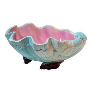 English Majolica Large Clam Shell Bowl, Circa 1885 For Sale