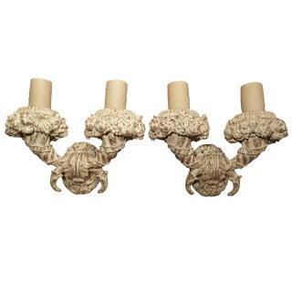 Pair of Large Carved and Parcel Painted Wooden Sconces For Sale